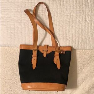 Dooney & Bourke Black Fabric and Brown Leather Bag